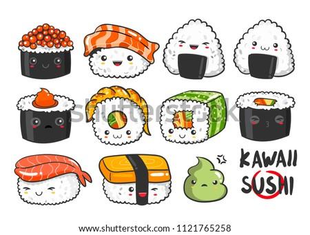 Hand Drawn Various Kawaii Sushi Colored Vector de stock (libre de ...