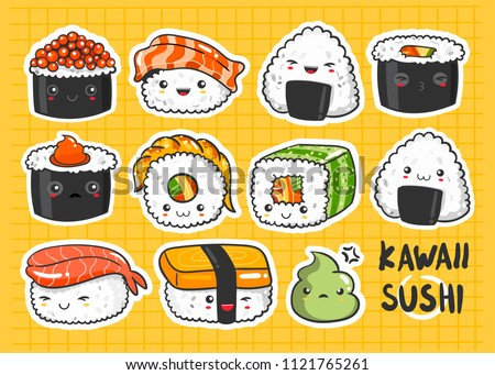 Hand Drawn Various Kawaii Sushi Stickers Colored Vector Set All Elements Are Isolated