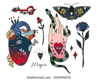 Hand drawn various magic objects. Traditional tattoo style. Colored graphic vector set. All elements are isolated