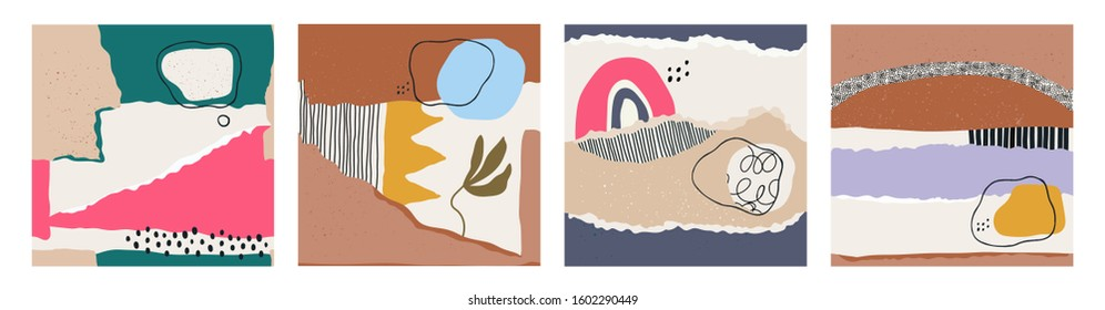 Hand drawn various shapes and doodle objects. Abstract contemporary modern trendy vector illustrations. Set of four Seamless patterns. Perfect for textile prints. All patterns are isolated