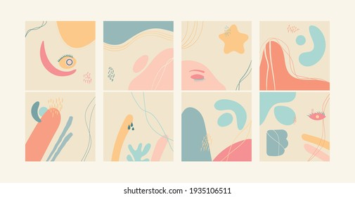 Hand drawn various shapes and doodle objects. Contemporary modern trendy vector illustrations.Pastel colors
