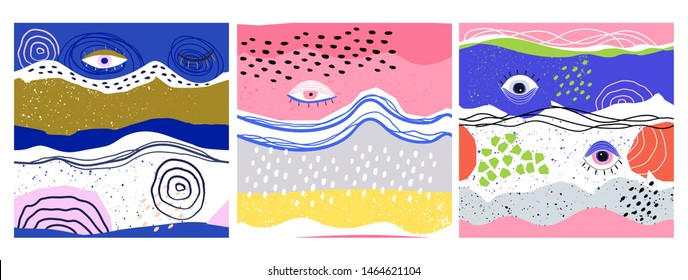 Hand drawn various shapes, lines, spots, dots, curves and eyes. Bright colors. Set of three abstract contemporary seamless patterns. Modern patchwork illustrations in vector. Every pattern is isolated