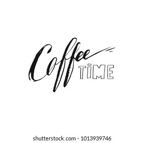 Hand drawn vector abstract artistic ink sketch drawing handwritten coffee time calligraphy text and ribbon isolated on white background.Coffee shop concept.
