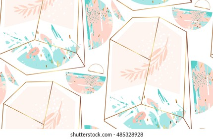Hand drawn vector abstract artistic geometric seamless pattern with crystal terrarium and brunch in gold,pastel and tiffany blue colors isolated on white background.Polygonal artistic background.