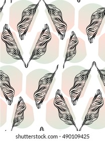 Hand drawn vector abstract artistic textured seamless pattern with graphic lined palm leaves in pastel colors isolated on white background.Tropical palm tree leaves.