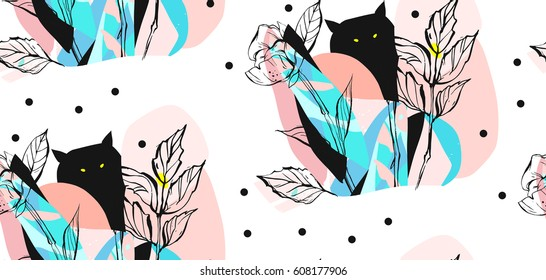 Hand drawn vector abstract artistic creative artworks illustrations seamless pattern with black cute monsters in night fairy wild forest in bright blue and pastel colors isolated on white background.