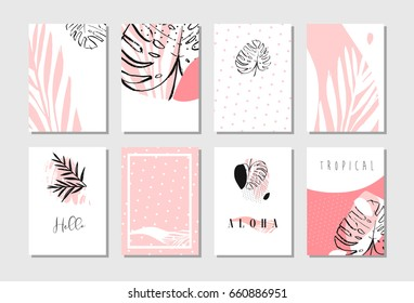 Hand drawn vector of an abstract artistic freehand textured unusual cards set template collection with tropical palm leaves in pastel colors isolated on white background.