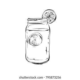Hand drawn vector abstract artistic cooking ink sketch illustration of tropical lemonade shake drink in glass mason jar isolated on white background.Diet detox concept.