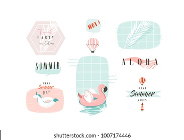 Hand drawn vector abstract cartoon summer time fun illustrations signs collection set with pink flamingo,unicorn buoy rings and modern typography quotes isolated on white background.