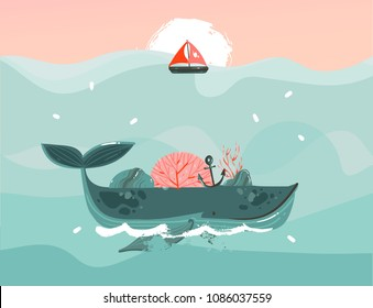 Hand drawn vector abstract cartoon summer time graphic illustrations template background with blue ocean waves,big whale,corals,seaweed,sail,anchor,sundown and copy space place for your text.