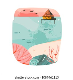 Hand drawn vector abstract cartoon summer time graphic illustrations template background logo design with ocean beach landscape,pink sunset and beach cabin house with copy space place for your design.