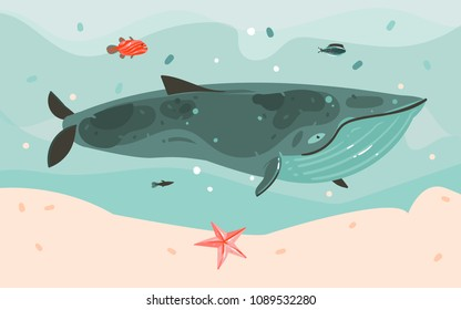 Hand drawn vector abstract cartoon summer time graphic illustrations art template background with ocean bottom,big whale,corals,seaweed isolated on blue water waves.