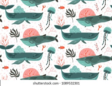 Hand drawn vector abstract cartoon graphic summer time underwater ocean bottom illustrations seamless pattern with coral reefs,beauty big whales,seaweeds and jellyfish isolated on white background.