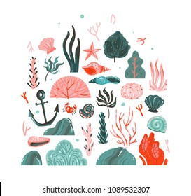Hand drawn vector abstract cartoon graphic summer time underwater illustrations art collection set with coral reefs,seaweeds,starfish,crab,anchor,stones and sea shells isolated on white background.