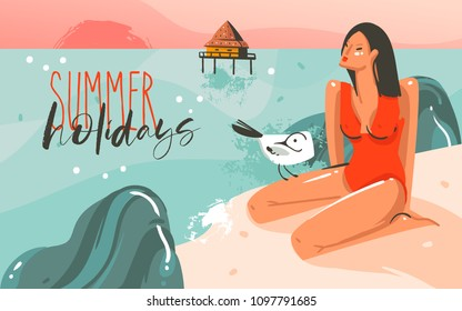 Hand drawn vector abstract cartoon summer time graphic illustrations art template background with ocean beach landscape,pink sunset,gull bird and beauty girl with Summer Holidays typography quote.