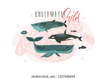 Hand drawn vector abstract cartoon graphic summer time underwater illustrations collection set with beauty big whales characters with Underwater Child typography isolated on white background