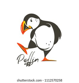 Hand drawn vector abstract cartoon summer time graphic decoration illustrations art with Icelandic puffin bird isolated on white background