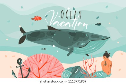 Hand drawn vector abstract cartoon summer time graphic illustrations art template background with ocean bottom,beauty mermaid girl,whale,underwater blue waves and Ocean Vacation typography text