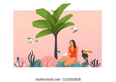 Hand drawn vector abstract cartoon summer time graphic illustration template card with girl,sunset,palm,tree,toucan birds on beach scene isolated on white background