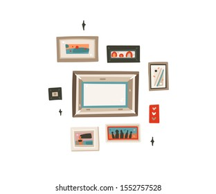Hand drawn vector abstract cartoon modern graphic frames pictures collection set illustrations art isolated on white background