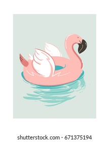 Hand drawn vector abstract cartoon summer time fun illustration with pink flamingo buoy float circle isolated on blue background.