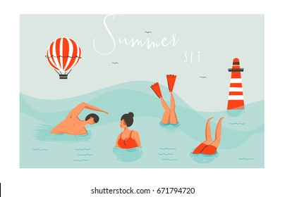 Hand drawn vector abstract cartoon summer time fun swimming people group collection set isolated on blue ocean waves.