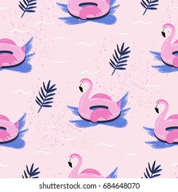 Hand drawn vector abstract cartoon summer time. Fun illustration seamless pattern with flamingo float.