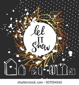 Hand Drawn Vector Abstract Christmas And New Year Calligraphic Card Template Design With Golden Wreath
