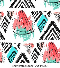 Hand drawn vector abstract collage seamless pattern with watermelon fruit isolated on white background.