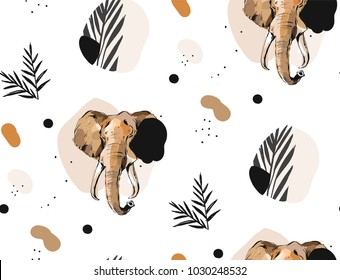 Hand drawn vector abstract creative graphic artistic illustrations seamless collage pattern with sketch elephant drawing and tropical palm leaves in tribal mottif isolated on white background.