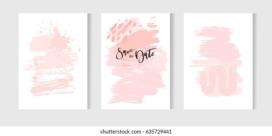 Hand drawn vector abstract creative unusual simple save the date cards template collection set with drawing textures in pastel pink colors.Boho Wedding,anniversary,birthday,party invitations,logo