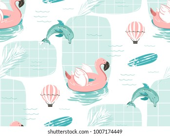 Hand drawn vector abstract cute summer time cartoon illustrations seamless pattern with pink flamingo float circle,surfboard and dolphins in blue ocean water background.