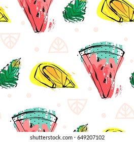Hand drawn vector abstract cute funny summer time fruits seamless pattern with watermelon, lemon, mint leaves and freehand textures isolated on white background.Wedding,birthday,save the date,kids menu