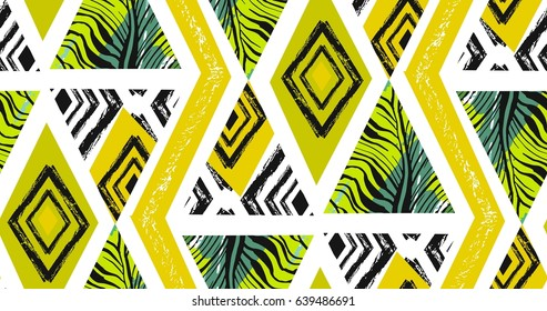 Hand drawn vector abstract freehand textured seamless tropical pattern collage with zebra motif, organic textures, triangles isolated on white background. Wedding, save the date, birthday, fashion decor.