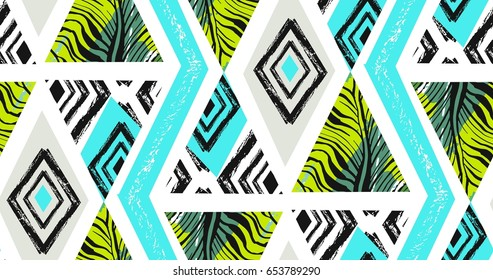Hand drawn vector abstract freehand textured seamless tropical pattern collage with zebra motif,organic textures,triangles isolated on white background.
