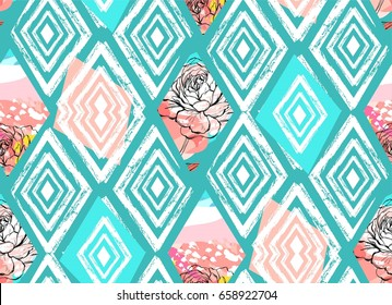 Hand drawn vector abstract freehand textured collage seamless pattern with spring flowers motif in blue pastel color isolated on colored background.