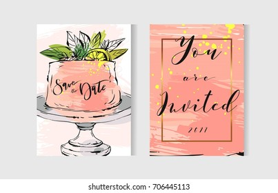 Hand drawn vector abstract freehand textured unusual save the date cards set template with cake stand design,flowers,lemon,golden frame and modern calligraphy in peach colors.
