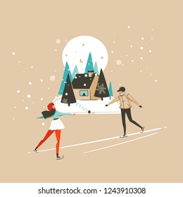 Hand drawn vector abstract fun Merry Christmas and Happy New Year time cartoon illustration greeting card with xmas ice skete boy and girl isolated on craft background