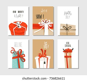 Hand drawn vector abstract fun Merry Christmas time cartoon cards or tags collection set with cute illustrations of surprise gift boxes and modern typography isolated on craft paper background.