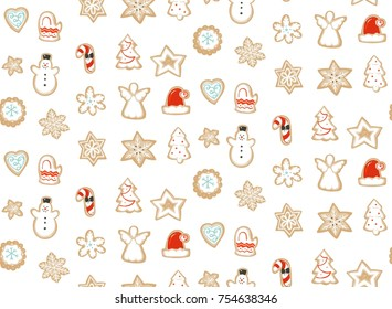 Hand drawn vector abstract fun Merry Christmas time cartoon illustration seamless pattern with baked gingerbreads cookies isolated on white background.