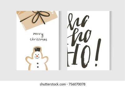 Hand drawn vector abstract fun Merry Christmas time cartoon cards collection set with cute illustrations,surprise gift box,snowman and handwritten modern calligraphy text isolated on white background.