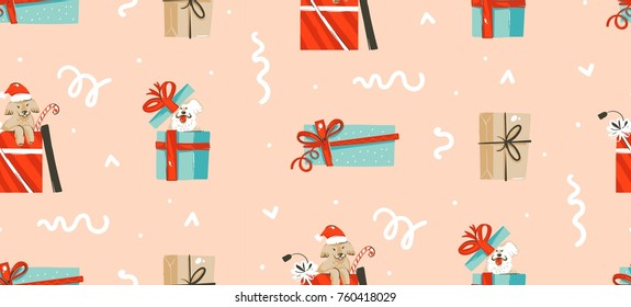 Hand drawn vector abstract fun Merry Christmas time cartoon illustration seamless pattern with pet dog in xmas surprise gift boxes isolated on pastel background.