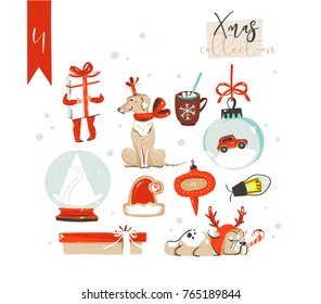 Hand drawn vector abstract fun cartoon classic Merry Christmas time illustrations decoration elements collection set with surprise gift boxes,dog,children and snow ball isolated on white background. - Shutterstock ID 765189844
