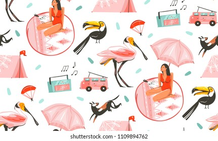 Hand drawn vector abstract graphic cartoon summer time flat illustrations seamless pattern with camping tent,dog,toucan,record player,car and beauty girl under umbrella isolated on white background