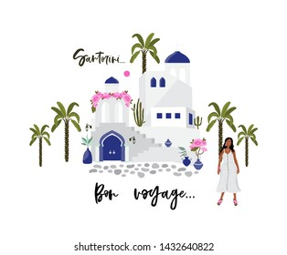 Hand drawn vector abstract graphic cartoon summer time flat illustrations with white traditional Santorini houses and church. Greece old street. Bright background.