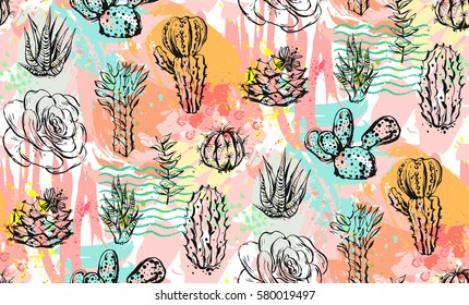 Hand drawn vector abstract graphic creative succulent,cactus and plants seamless pattern on colorful artistic brush painted background.Unique unusual hipster trendy design.Hand made graphic art