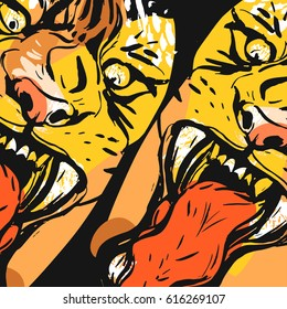 Hand drawn vector abstract graphic drawing of anger tiger faces in orange colors isolated on black background