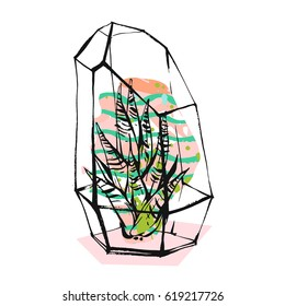 Hand drawn vector abstract illustration with rough terrarium and succulent plants in pastel color isolated on white background.Design for decoration,fashion,fabric,save the date,scandinavian decor