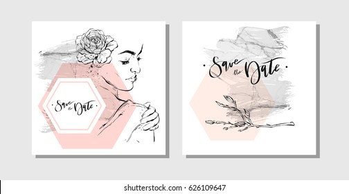 Hand drawn vector abstract marbled save the date greeting cards collection set with brunches,woman figure and flowers in pastel colors isolated on white background. Wedding,birthday,invitation,flayer