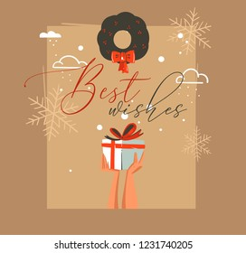 Hand drawn vector abstract Merry Christmas and Happy New Year time retro cartoon illustrations greeting card with people hands who holding surprise gift box and mistletoe isolated on craft background